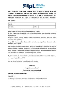 Prova de Conhecimentos - Instituto Politécnico de Lisboa