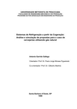 Sistemas de Refrigeração a partir da Cogeração: Análise
