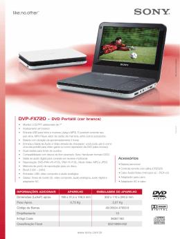 DVP-FX720 - DVD Portátil (cor branca) Acessórios