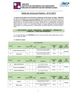 Edital de Concurso Público - Nº 01/2014