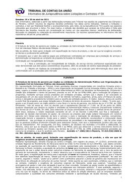 TRIBUNAL DE CONTAS DA UNIÃO Informativo de