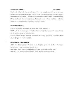 SOCIOLOGIA JURÍDICA (40 HORAS) Direito e Sociologia