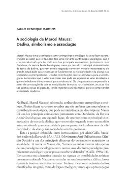 A sociologia de Marcel Mauss
