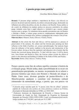 A poesia grega como paidia