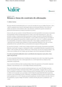 Bônus e ônus do contrato de alienação Autor: Melhim Namen