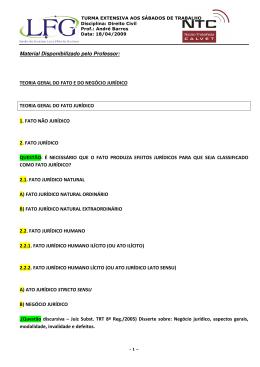 Material Disponibilizado pelo Professor: TEORIA GERAL DO FATO