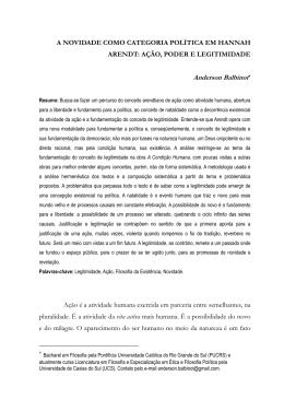 A NOVIDADE COMO CATEGORIA POLÍTICA EM HANNAH ARENDT