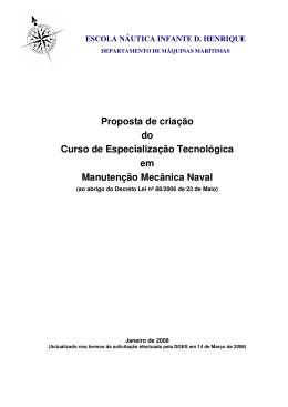 Proposta de Criação do Curso - Escola Superior Náutica Infante D