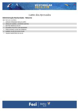 Listão dos Aprovados Administração Bacharelado