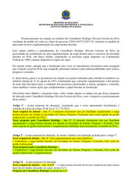 Pronunciamento em relação ao relatório do Conselheiro Rodrigo