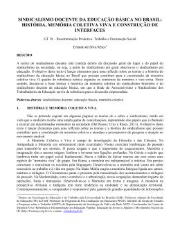 SINDICALISMO DOCENTE DA EDUCAÇÃO BÁSICA NO BRASIL
