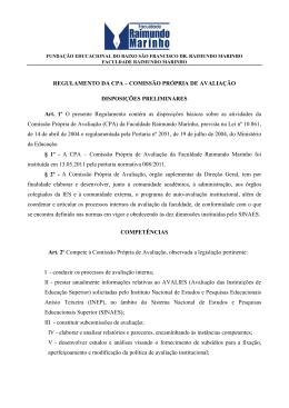 REGULAMENTO DA CPA – COMISSÃO PRÓPRIA DE