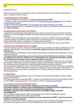 Comunicado divulgado em 18/07/13 aos inscritos com resumo para