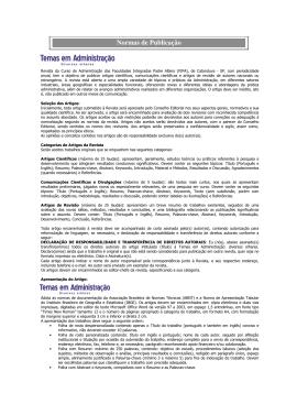 Normas de Publicação - Fundação Padre Albino