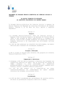 Regulamento da UTC Ciências Sociais e Humanas