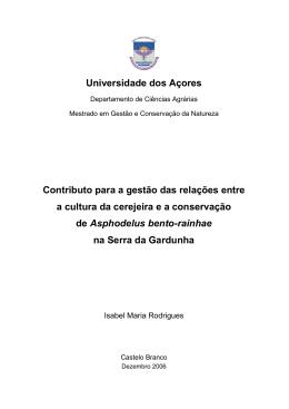 Universidade dos Açores Contributo para a gestão das relações