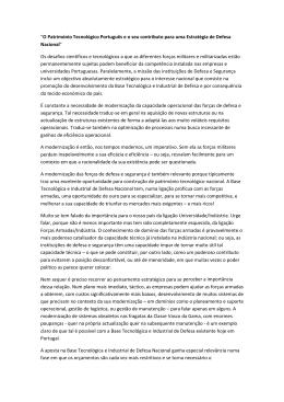 """""""O Património Tecnológico Português e o seu contributo para uma"""