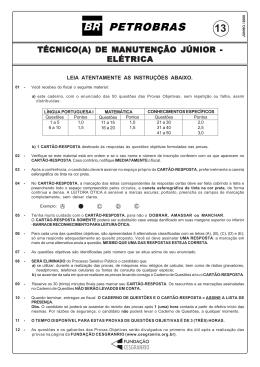 TÉCNICO(A) DE MANUTENÇÃO JÚNIOR - ELÉTRICA