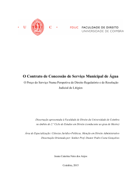 O Contrato de Concessão de Serviço Municipal de