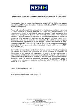 Empresas do Grupo REN celebram adendas aos contratos de