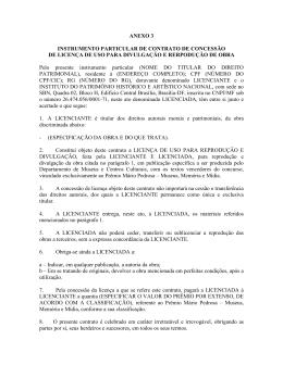 INSTRUMENTO PARTICULAR DE CONTRATO DE CONCESSÃO