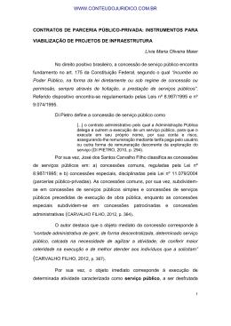 CONTRATOS DE PARCERIA PÚBLICO