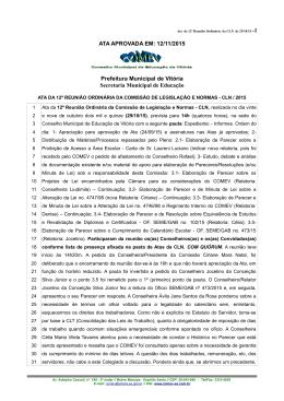 ATA APROVADA EM: 12/11/2015 Prefeitura Municipal de Vitória