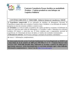 Edital IMS: Cadeias produtivas com ênfoque em Logistica