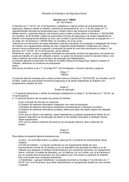 Ministério do Emprego e da Segurança Social Decreto-Lei