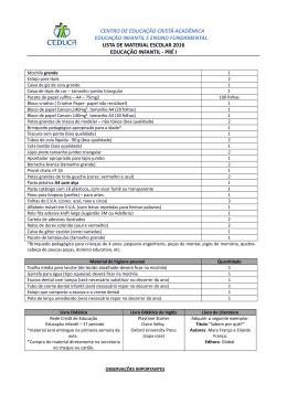 lista de material escolar 2016 educação infantil - pré i
