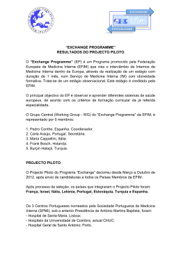 "Resultados do Projecto Piloto do Programa ""Exchange"
