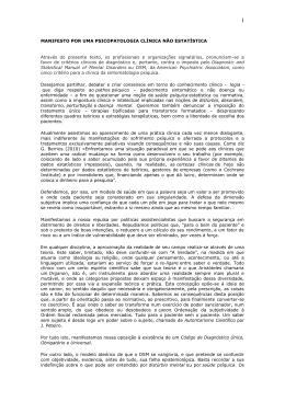 MANIFESTO POR UMA PSICOPATOLOGIA CLÍNICA NÃO