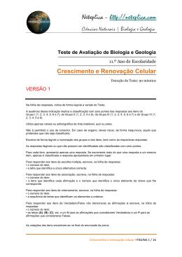 Teste de Avaliação de Biologia e Geologia
