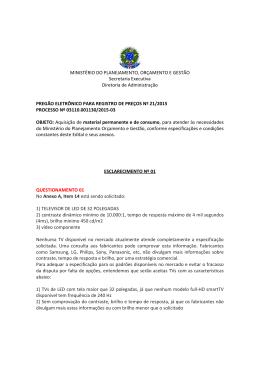 Esclarecimento 01 - Ministério do Planejamento, Orçamento e Gestão
