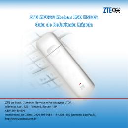 ZTE MF626 Modem USB HSDPA Guia de Referência Rápida