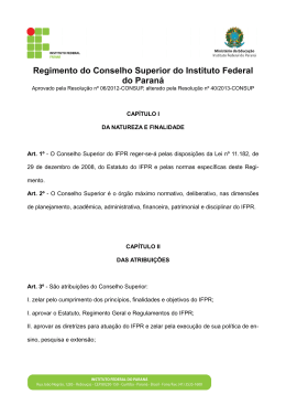 Regimento do Conselho Superior do Instituto Federal do