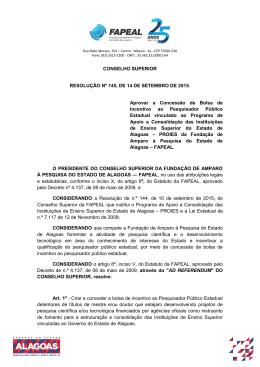 CONSELHO SUPERIOR RESOLUÇÃO Nº 145, DE 14 DE