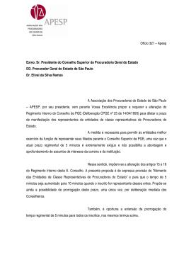 Ofício 321 – Apesp Exmo. Sr. Presidente do Conselho Superior da