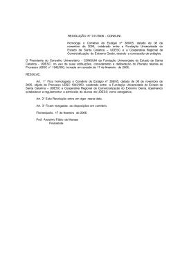 RESOLUÇÃO N° 017/2006 - CONSUNI - Homologa o