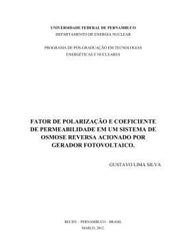FATOR DE POLARIZAÇÃO E COEFICIENTE DE PERMEABILIDADE