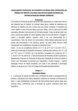 Regulamento Municipal para Atribuição de Prémio de Mérito a