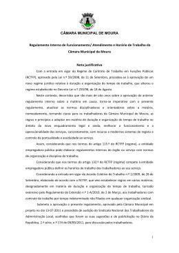 Regulamento Interno de Funcionamento/Atendimento e Horário de