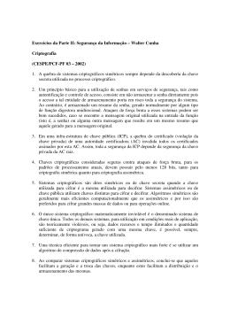 Exercícios da Parte II: Segurança da Informação – Walter Cunha