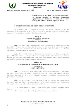 PREFEITURA MUNICIPAL DE TIMON Gabinete do Prefeito Casa Civil