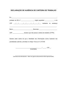 DECLARAÇÃO DE AUSÊNCIA DE CARTEIRA DE TRABALHO