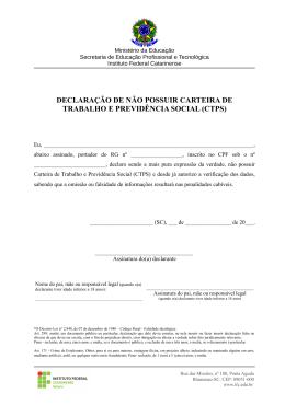 DECLARAÇÃO DE NÃO POSSUIR CARTEIRA DE TRABALHO E