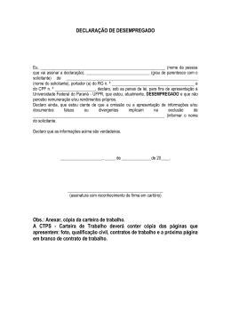 declaração de desempregado - Prograd