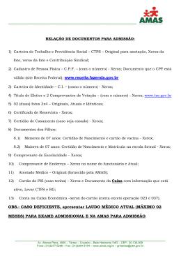 Relação de documentos para admissão