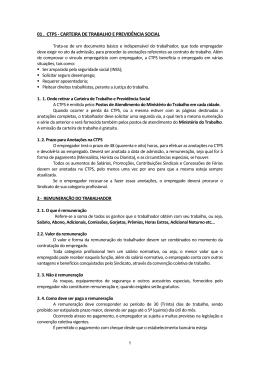 01 . CTPS - CARTEIRA DE TRABALHO E PREVIDÊNCIA