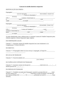 Modelo de contrato de trabalho doméstico temporário
